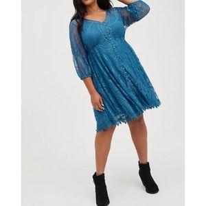 🆕 Blue Lace Skater Dress 1 1X 14 16 NWT Torrid New!